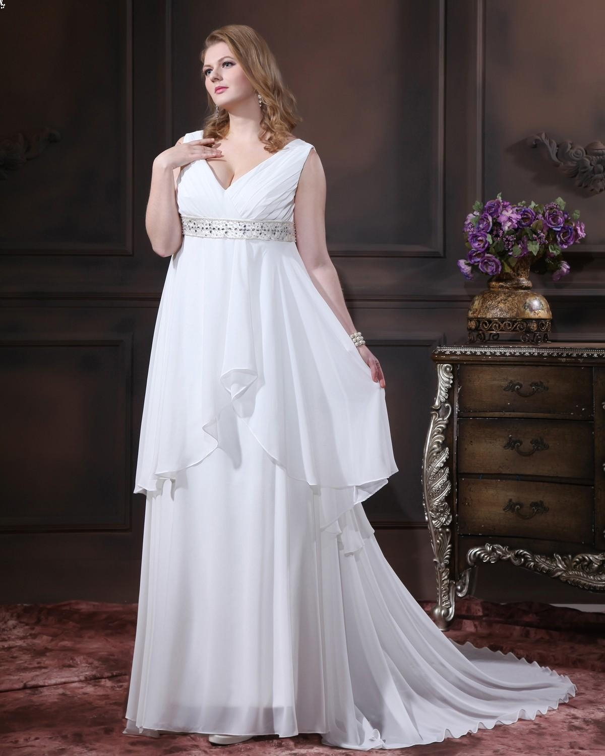 Beaded Empire Ruched V Neck White Plus Size Wedding Gowns