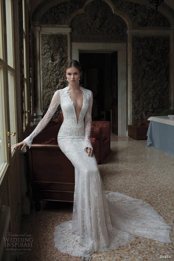 berta-fall-winter-2014-bridal-collection-long-sleeve-lace-wedding-dress-v-neckline