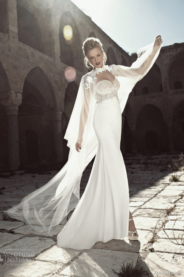 zoog-bridal-2013-strapless-wedding-dress-lace-bodice-sheer-cape