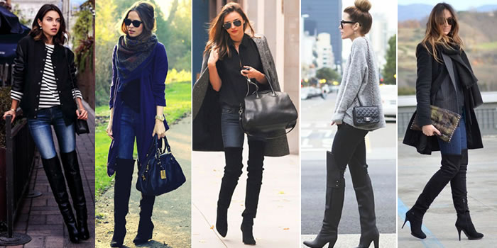 Botas Over The Knee ou Over Boots - Tendência de moda para o inverno 2015-com-calca