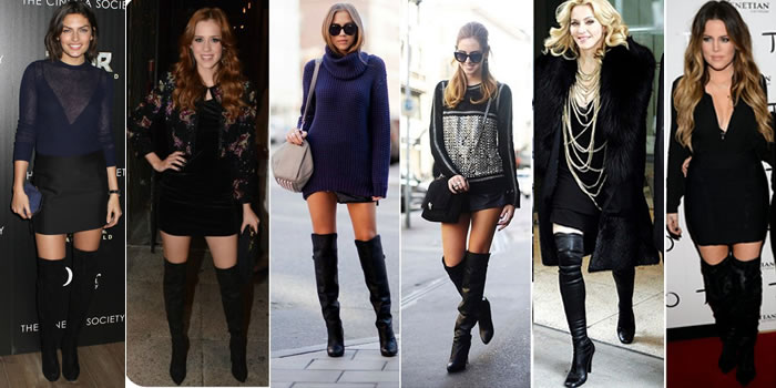 Botas Over The Knee ou Over Boots-look-para-noite
